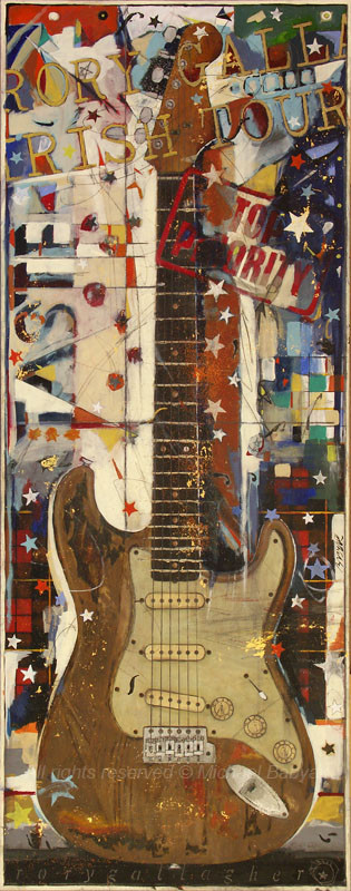 Painting of Rory Gallagher Fender Stratocaster